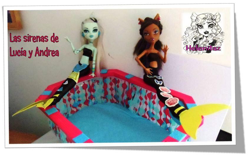 La Frankie y Clawdeen de mis gemelas también disfrazadas de Ariel