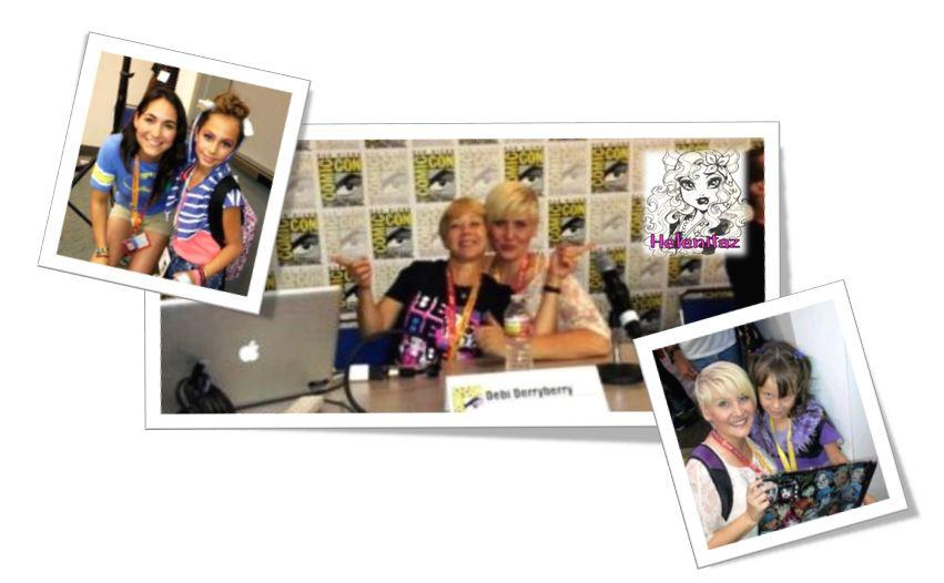 Las chicas que dan voz a Abbey, Draculaura y Cupid,  acompañadas de las pequeñas Fans asistentes al Comoc-Con Panel.