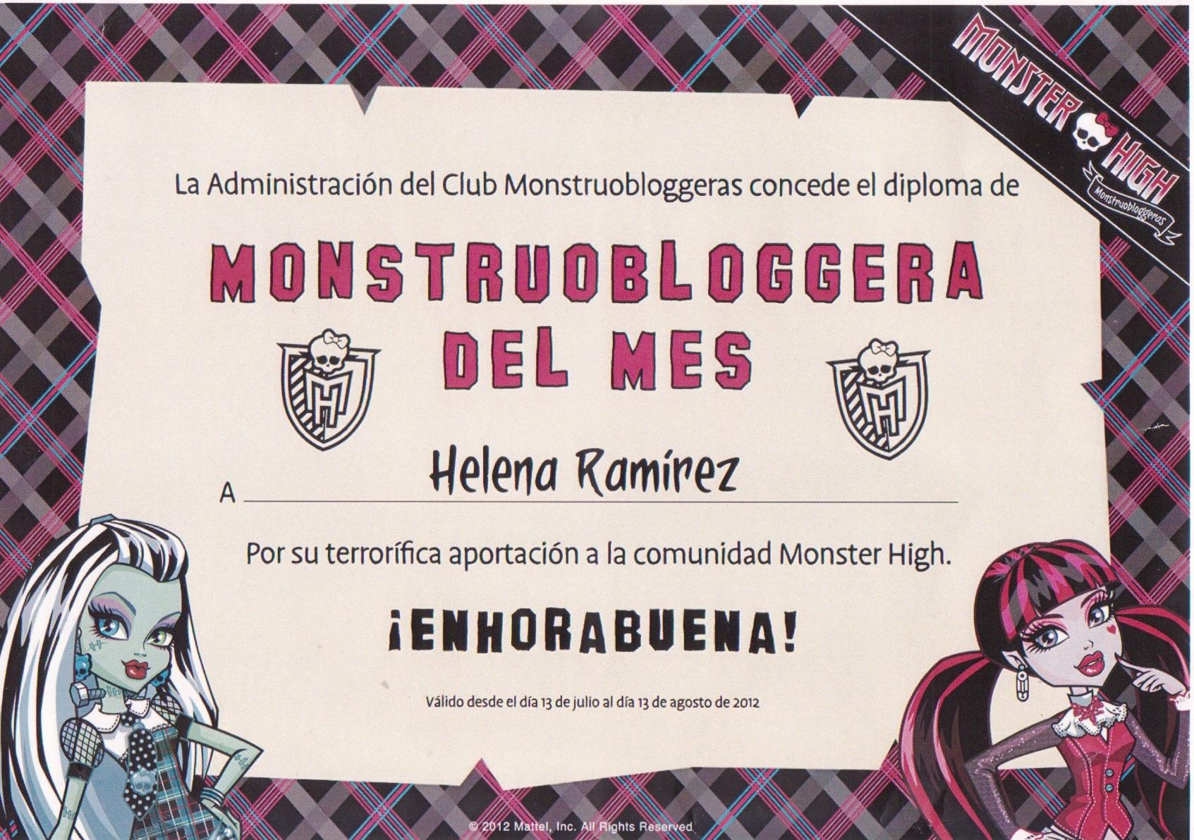 Diploma Concedido por Monstrubloggeras a www.helenitaz.com / Imágen propiedad de www.helenitaz.com y Mattel Inc ©, todos los derechos registrados.