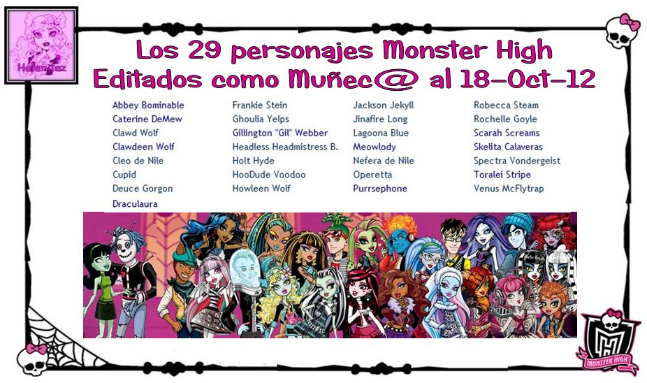 Personajes Monster High al 18-10-12