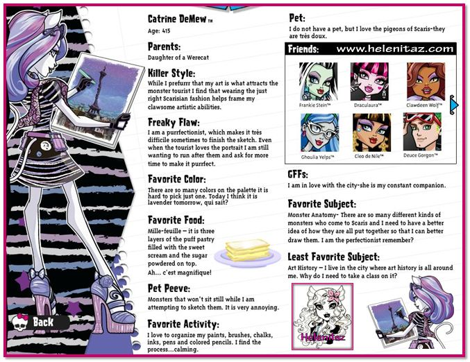 Biografía de Catrine DeMew por Monster High USA.