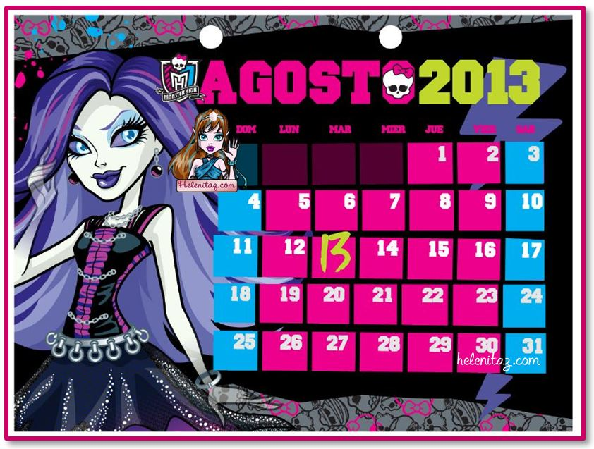 Calendario Monster High - Agosto de 2013 - By helenitaz,com