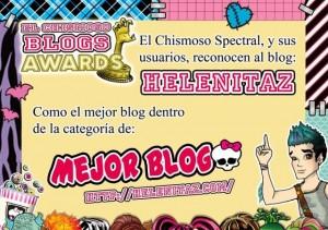 Helenitaz Mejor Blog - Premios El Chismoso Blogs Awards