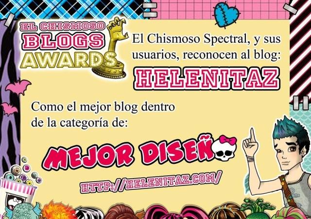 Helenitaz Mejor Diseño - Premios El Chismoso Blogs Awards