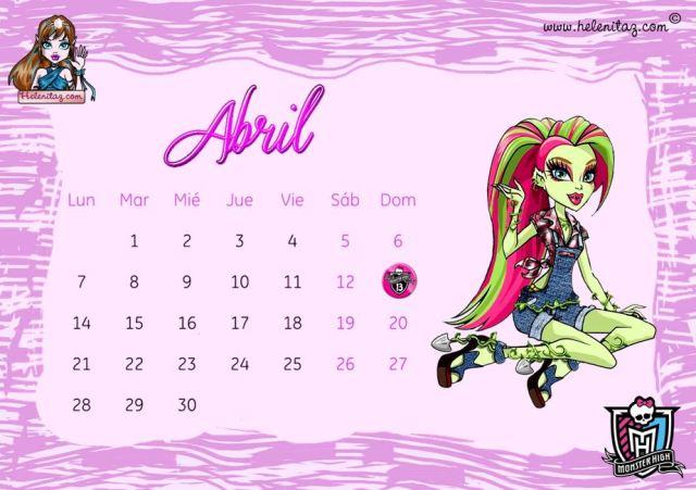 Calendario Abril 2014 helenitaz.com